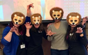 Photo of ROR project team members in lion masks