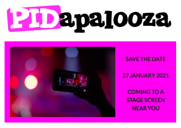 PIDapalooza logo with event date and image of hand holding phone in silhouette